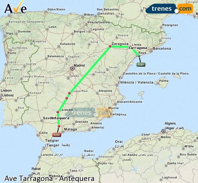 Enlarge map AVE Tarragona to Antequera