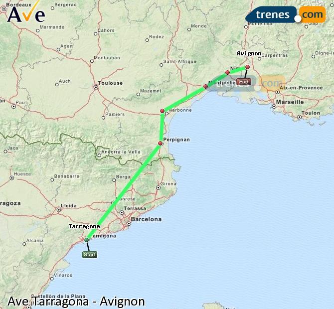 Ampliar mapa AVE Tarragona Avignon