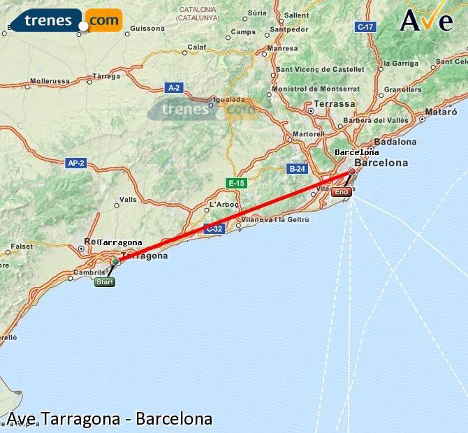 Agrandir la carte AVE Tarragone Barcelone