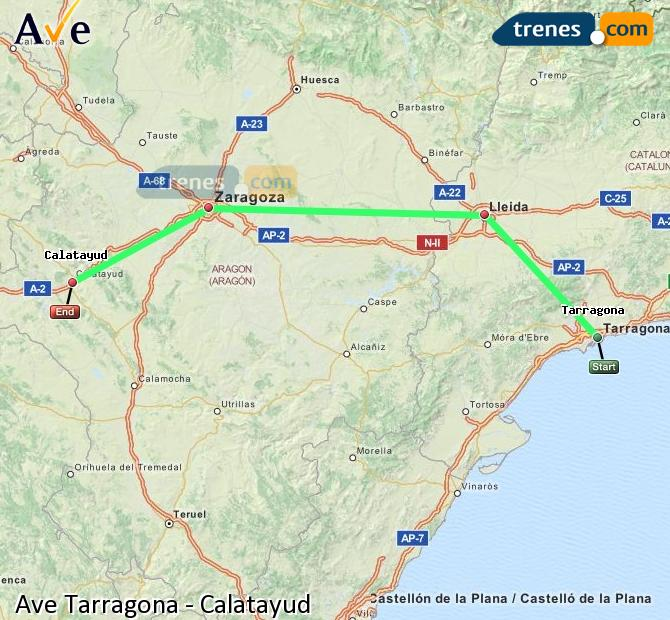 Enlarge map AVE Tarragona to Calatayud