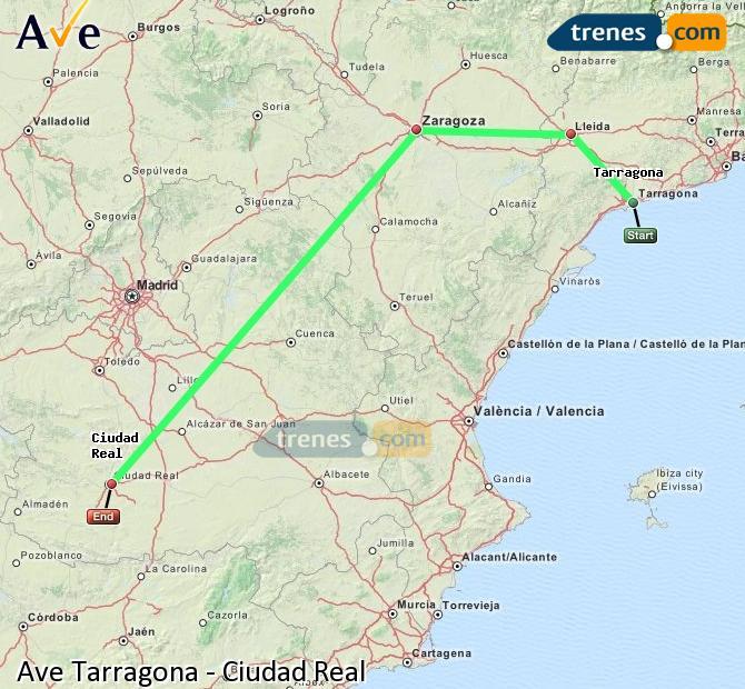 Enlarge map AVE Tarragona to Ciudad Real