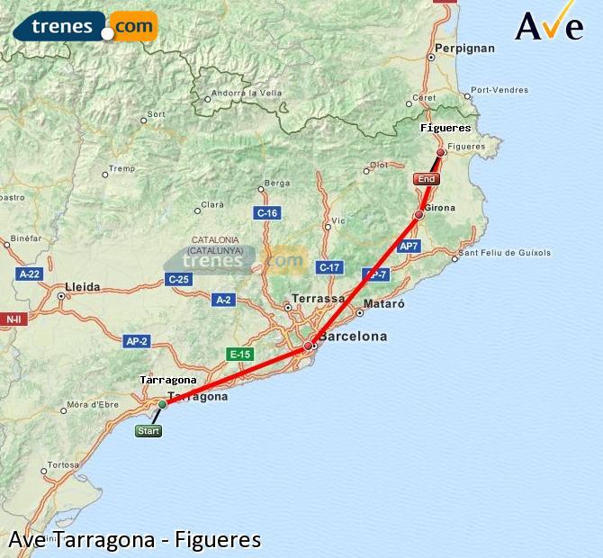 Ampliar mapa AVE Tarragona Figueres