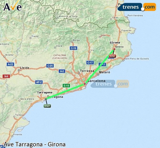 Agrandir la carte AVE Tarragone Girona