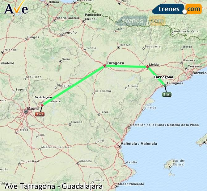 Enlarge map AVE Tarragona to Guadalajara