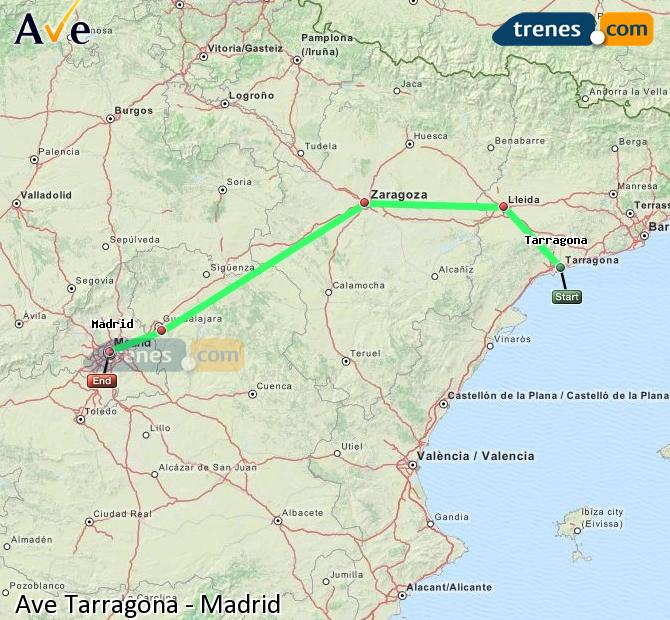 Enlarge map AVE Tarragona to Madrid