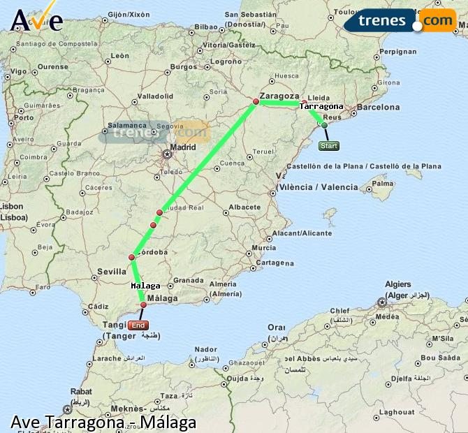 Enlarge map AVE Tarragona to Malaga