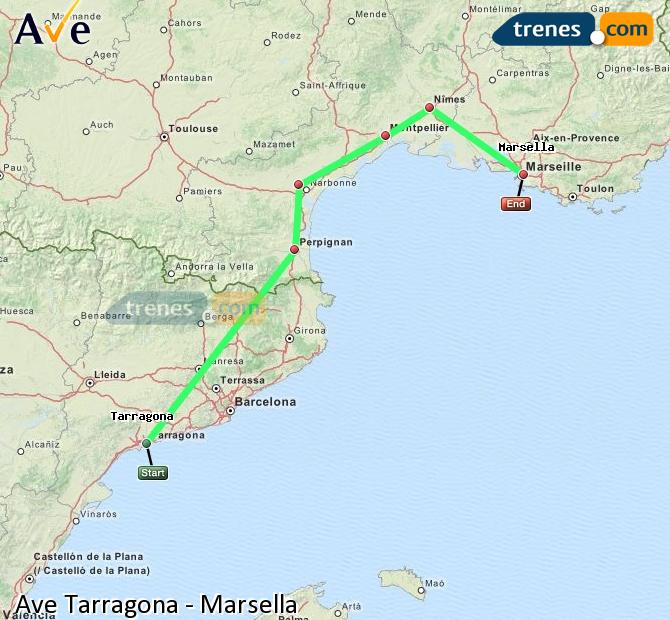 Agrandir la carte AVE Tarragone Marsella