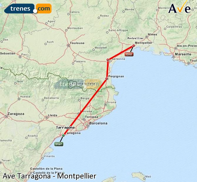 Enlarge map AVE Tarragona to Montpellier