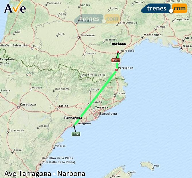 Enlarge map AVE Tarragona to Narbonne