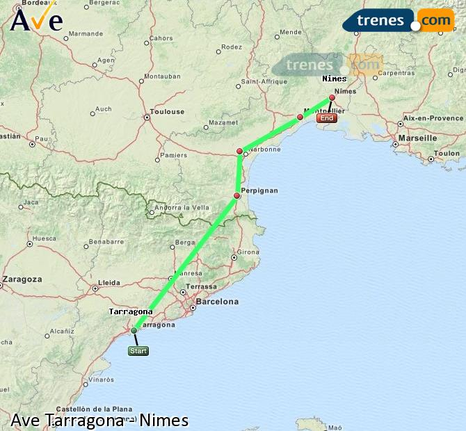 Enlarge map AVE Tarragona to Nimes