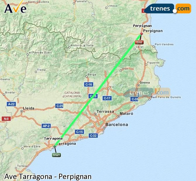 Ampliar mapa AVE Tarragona Perpignan