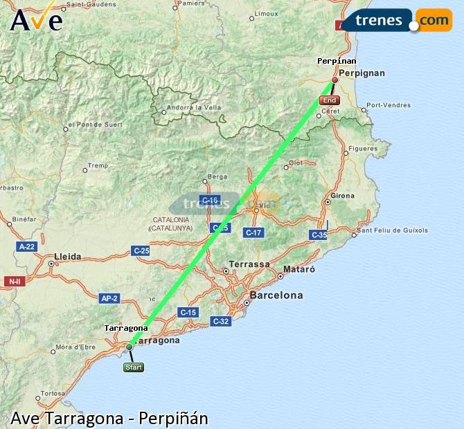 Enlarge map AVE Tarragona to Perpiñán