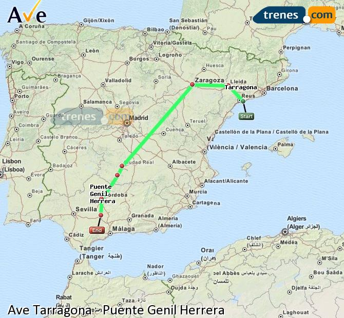 Enlarge map AVE Tarragona to Bridge Genil Herrera