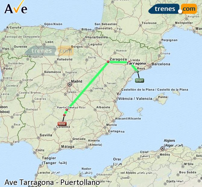 Enlarge map AVE Tarragona to Puertollano