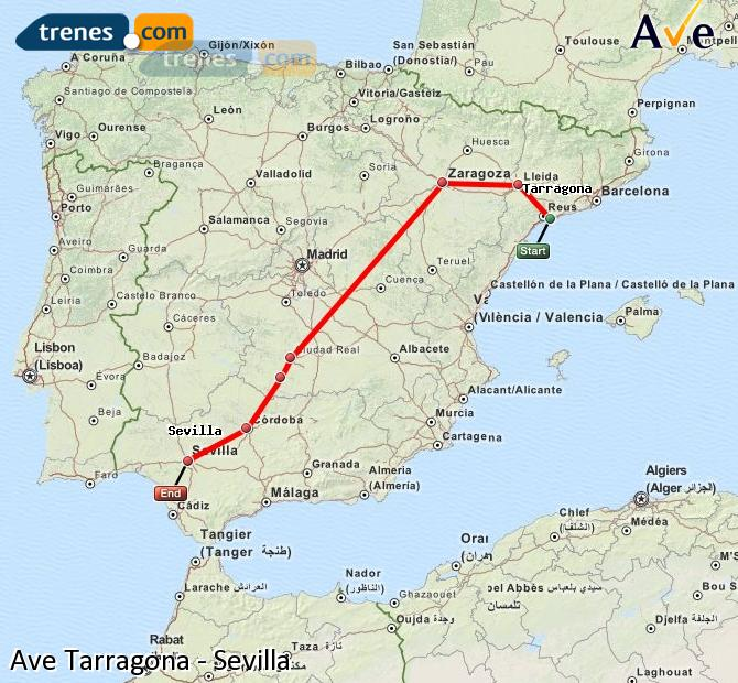 Enlarge map AVE Tarragona to Seville