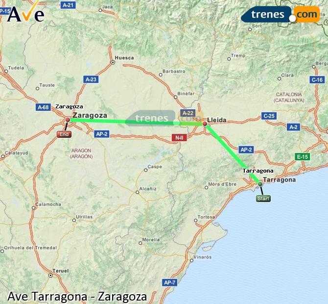 Ampliar mapa AVE Tarragona Zaragoza