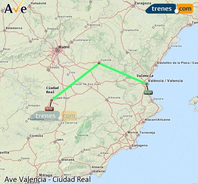 Agrandir la carte AVE Valence Ciudad Real