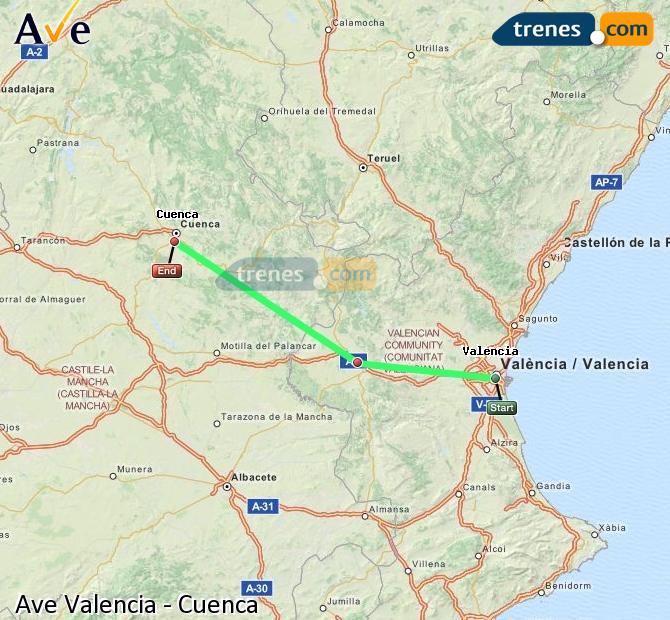 Ampliar mapa AVE Valencia Cuenca