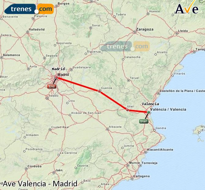 Enlarge map AVE Valencia to Madrid