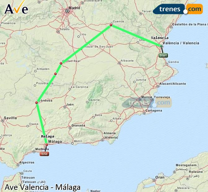 Enlarge map AVE Valencia to Malaga