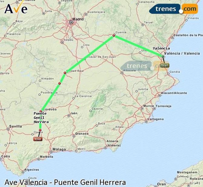 Agrandir la carte AVE Valence Puente Genil Herrera