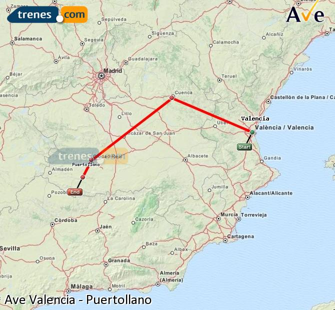 Enlarge map AVE Valencia to Puertollano