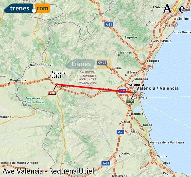 Ampliar mapa AVE Valencia Requena Utiel