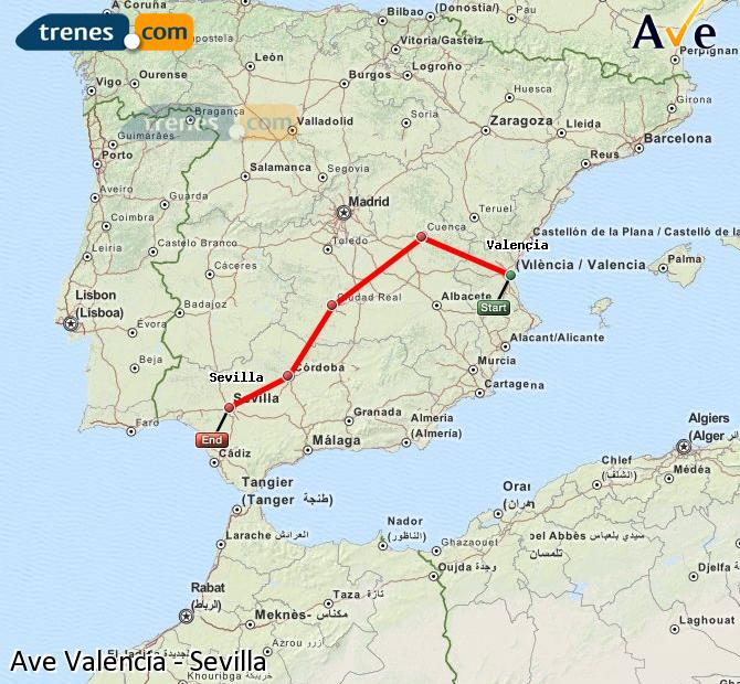 Enlarge map AVE Valencia to Seville