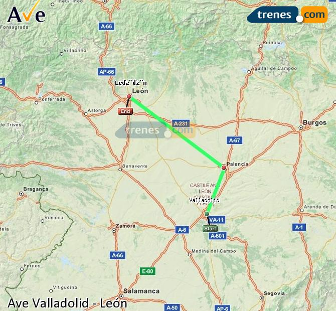 Enlarge map AVE Valladolid to Lion