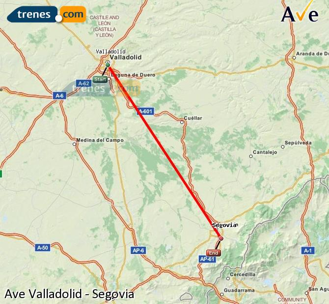 Enlarge map AVE Valladolid to Segovia