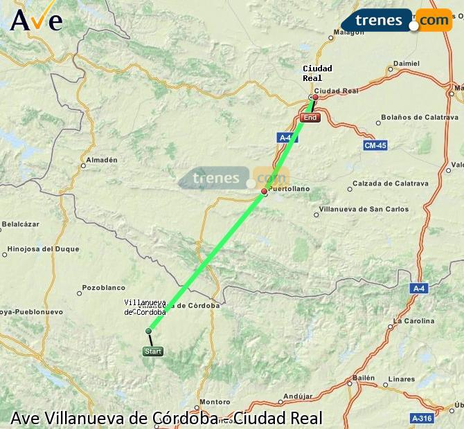 Agrandir la carte AVE Villanueva de Córdoba Ciudad Real