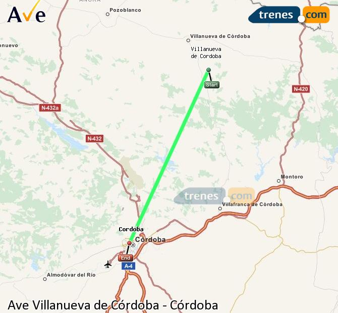 Enlarge map AVE Villanueva de Córdoba to Córdoba