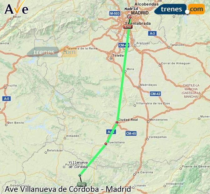 Enlarge map AVE Villanueva de Córdoba to Madrid