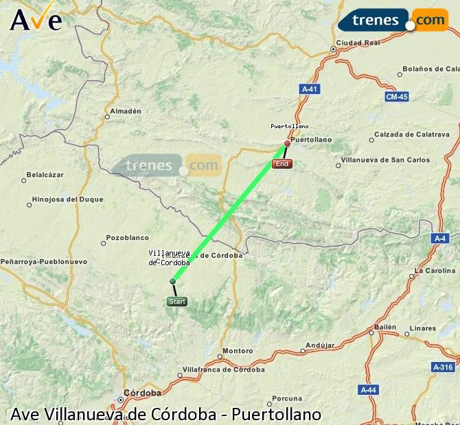 Ingrandisci la mappa AVE Villanueva de Córdoba Puertollano