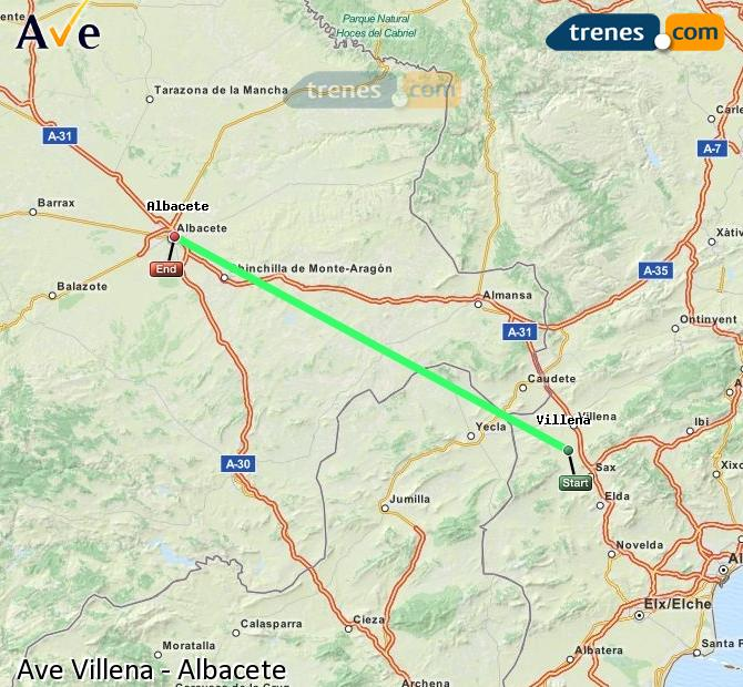 Enlarge map AVE Villena to Albacete