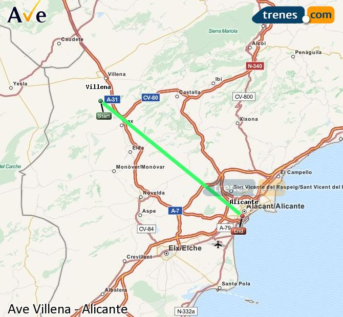Enlarge map AVE Villena to Alicante