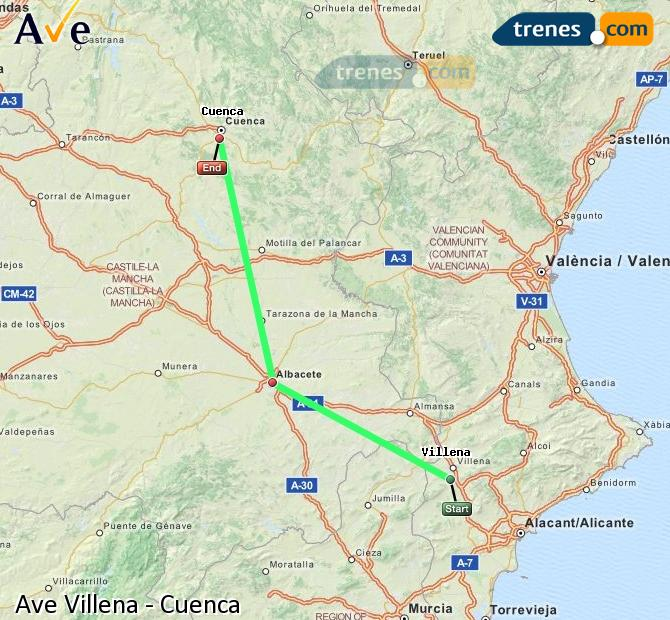 Enlarge map AVE Villena to Cuenca