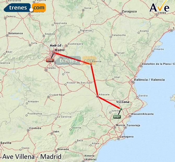 Agrandir la carte AVE Villena Madrid