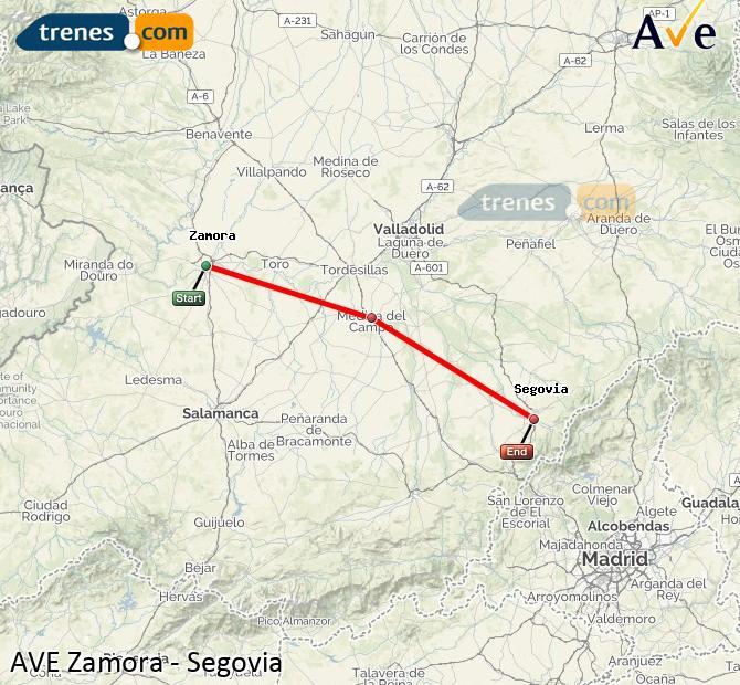 Ampliar mapa AVE Zamora Segovia