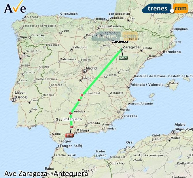 Agrandir la carte AVE Zaragoza Antequera