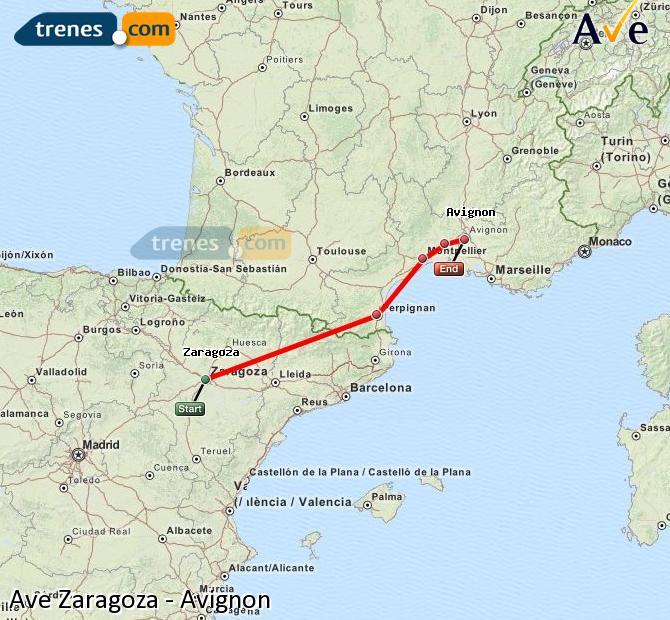 Ampliar mapa AVE Zaragoza Avignon