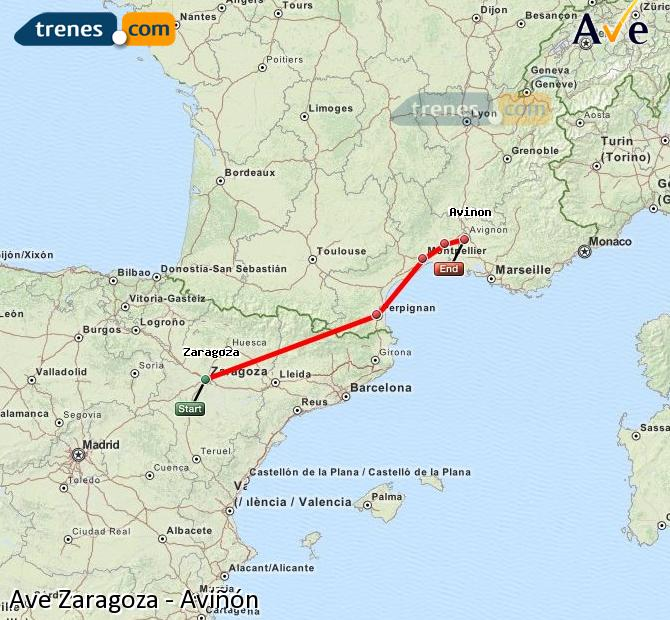 Ampliar mapa AVE Zaragoza Aviñón