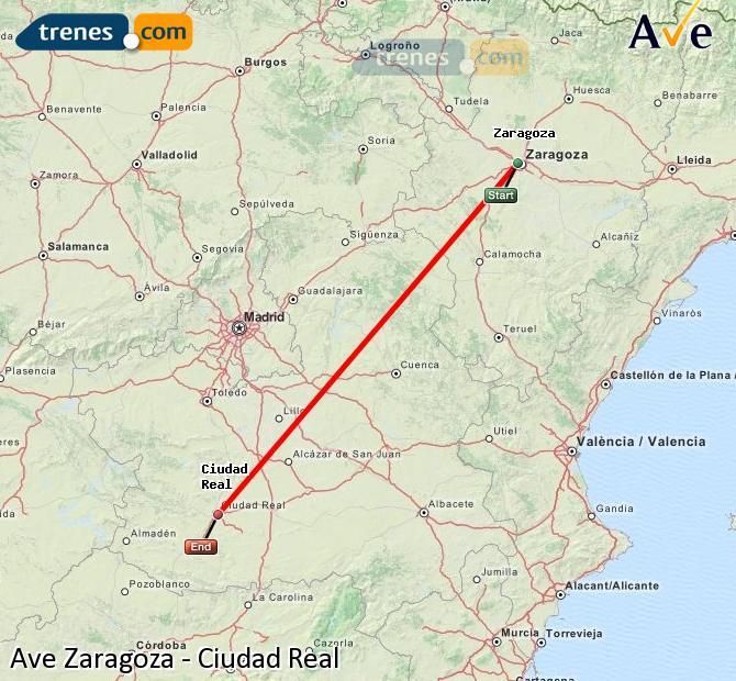 Karte vergrößern AVE Zaragoza Ciudad Real