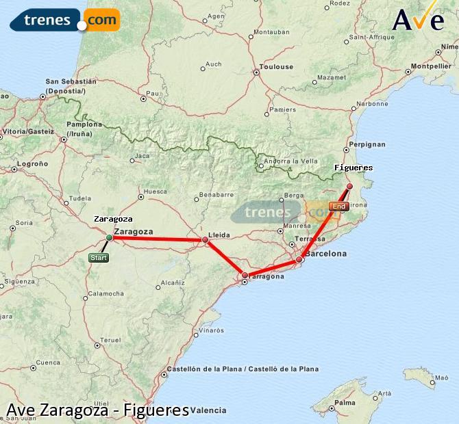 Karte vergrößern AVE Zaragoza Figueres