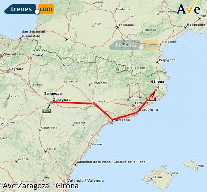 Enlarge map AVE Zaragoza to Girona