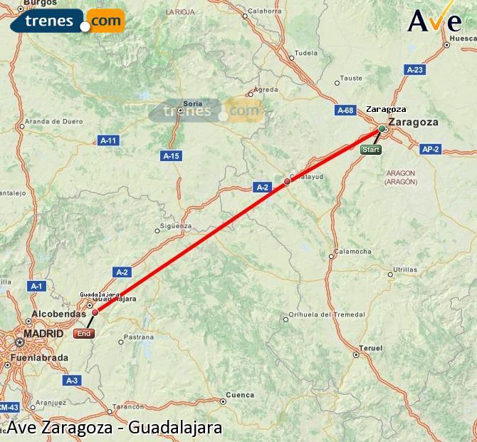 Ingrandisci la mappa AVE Zaragoza Guadalajara