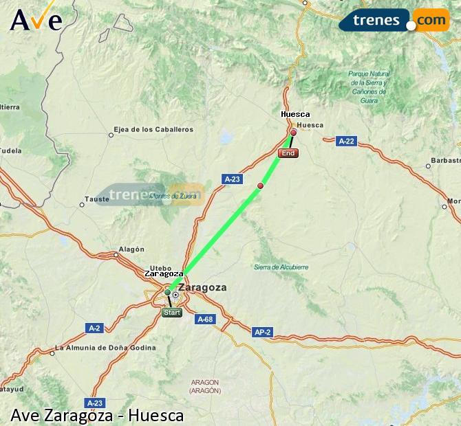 Ampliar mapa AVE Zaragoza Huesca