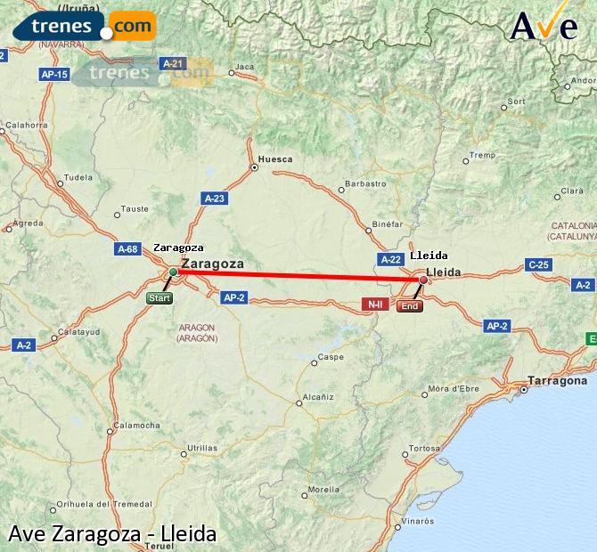 Ingrandisci la mappa AVE Zaragoza Lleida