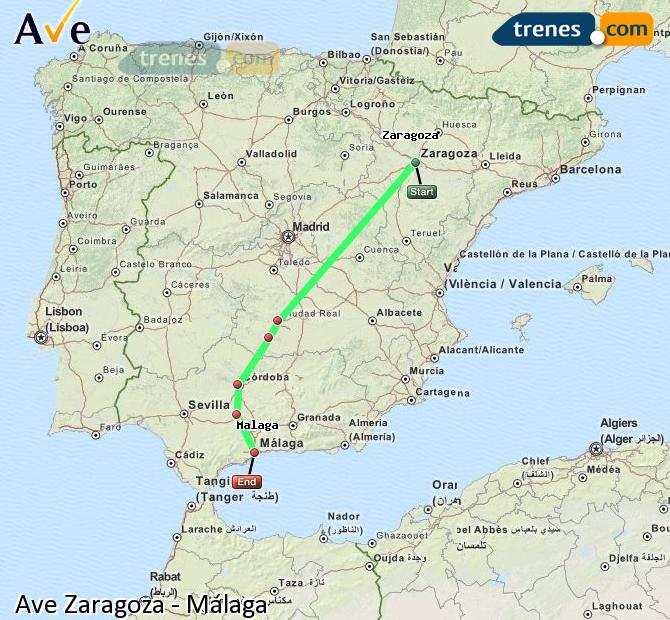 Enlarge map AVE Zaragoza to Malaga