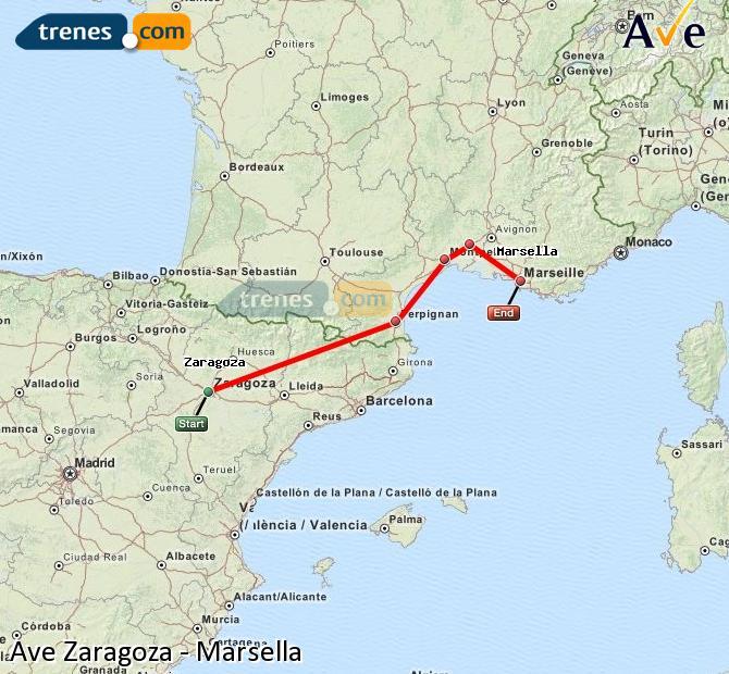 Ampliar mapa AVE Zaragoza Marsella